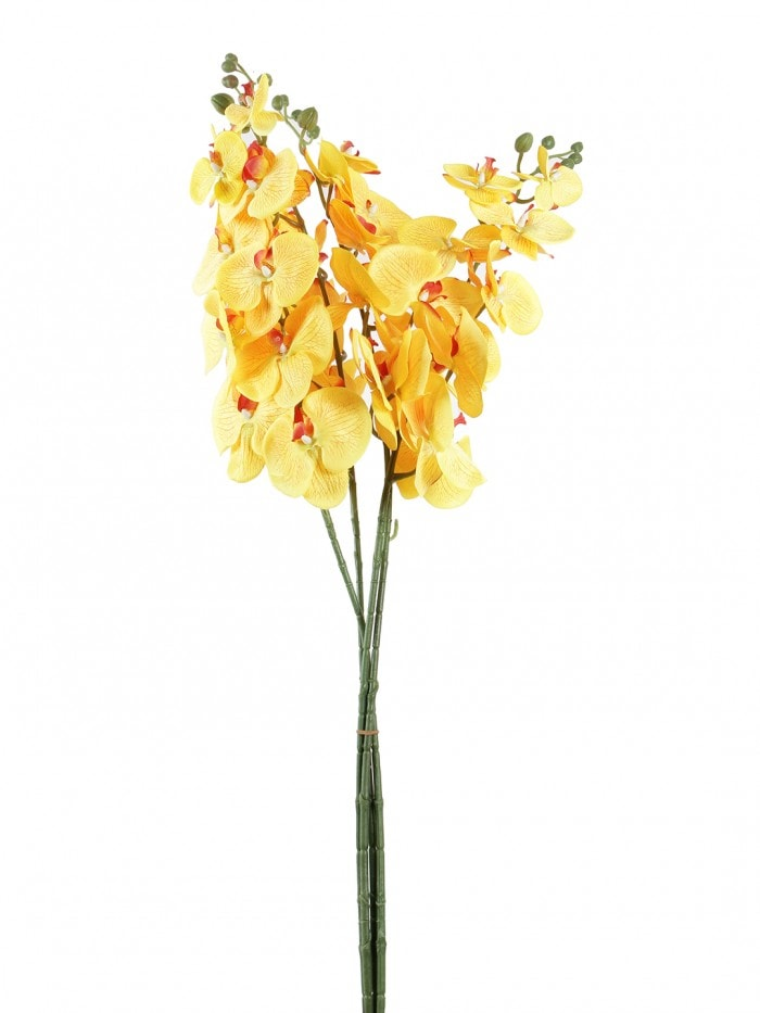 DECORATIVE ARTIFICIAL ORACHID FLOWER STEMS (SET OF 4, 90 CM TALL, YELLOW) MSF31