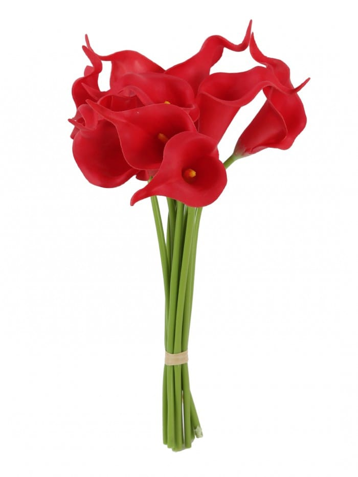 FOURWALLS ARTIFICIAL DECORATIVE REAL TOUCH MINI CALLA LILLIES FLOWER STICKS FOR HOME DÉCOR (32 CM TALL, SET OF 8, RED) MSF27