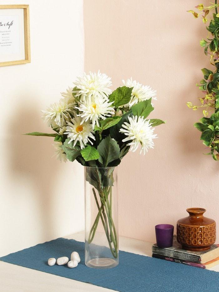 ARTIFICIAL CHRYSANTHEMUM FLOWER STICKS (3 HEAD, 75 CM TALL, WHITE, SET OF 4) MSF61