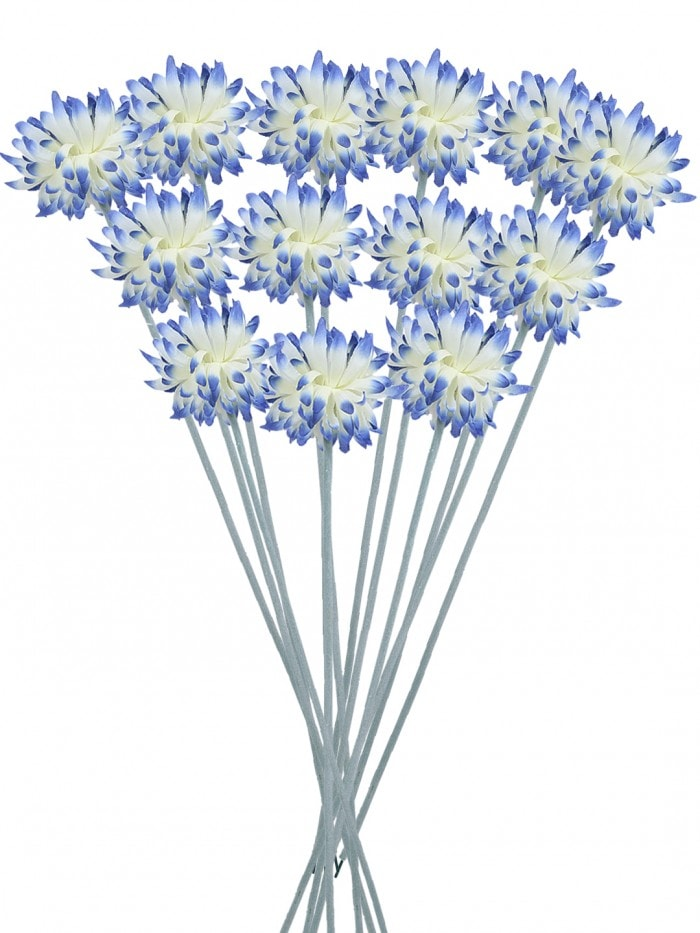 SYNTHETIC CLOTH ARTIFICIAL CHRYSANTHEMUM STEM (40 CM, BLUE, SET OF 8) MSF21
