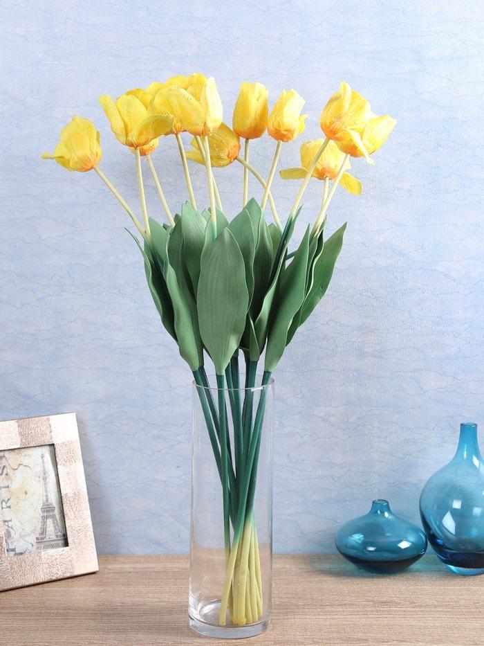 ARTIFICIAL TULIP FLOWER STICKS (65 CM TALL, YELLOW, SET OF 12) MSF45