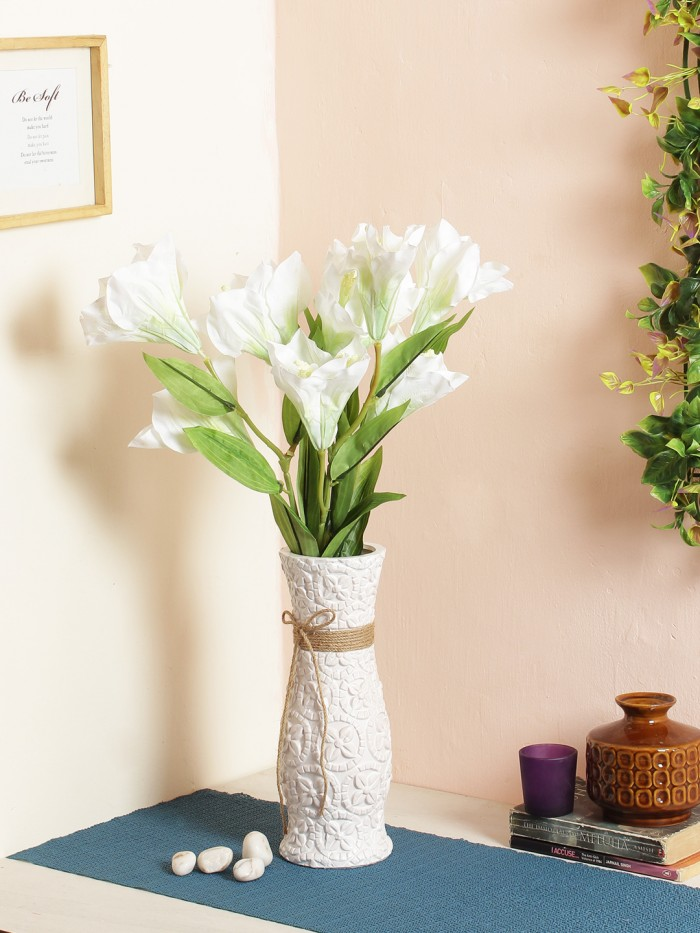 ARTIFICIAL HABISICUS FLOWER STICKS (95 CM TALL, 3 HEAD, WHITE, SET OF 3) MSF68