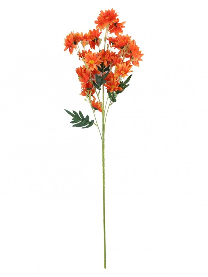 ARTIFICIAL DAISY FLOWER STEMS (80 CM TALL, 5 BRANCHES, ORANGE, SET OF 2) MSF99