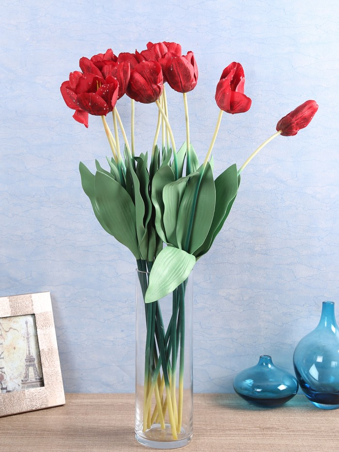 ARTIFICIAL TULIP FLOWER STICKS (65 CM TALL, RED, SET OF 12) MSF17