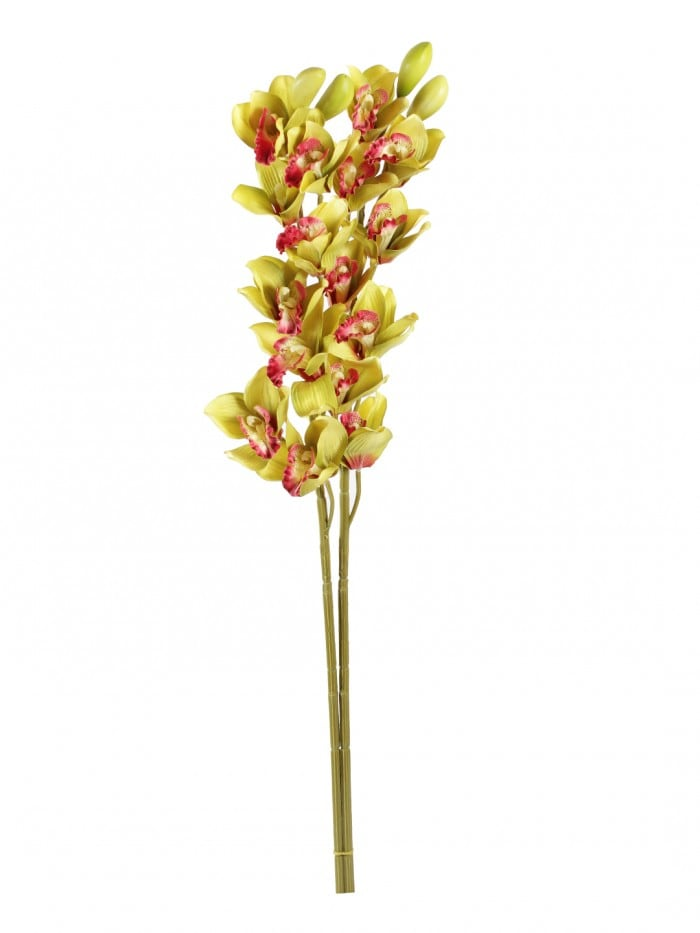 LOVELY ARTIFICIAL CYMBIDIUM ORCHID FLOWER STEMS (95 CM TALL, SET OF 2, GREEN) MSF59