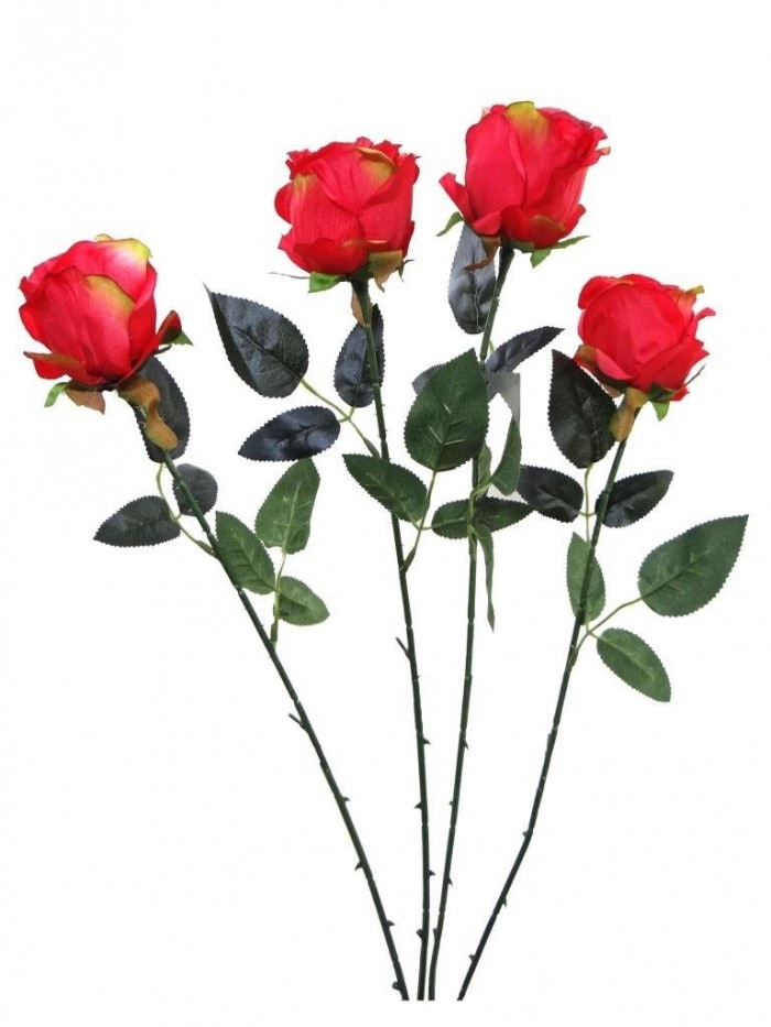 ARTIFICIAL SYNTHETIC SINGLE OPEN ROSE (45 CM, SET OF 4, RED) MSF12