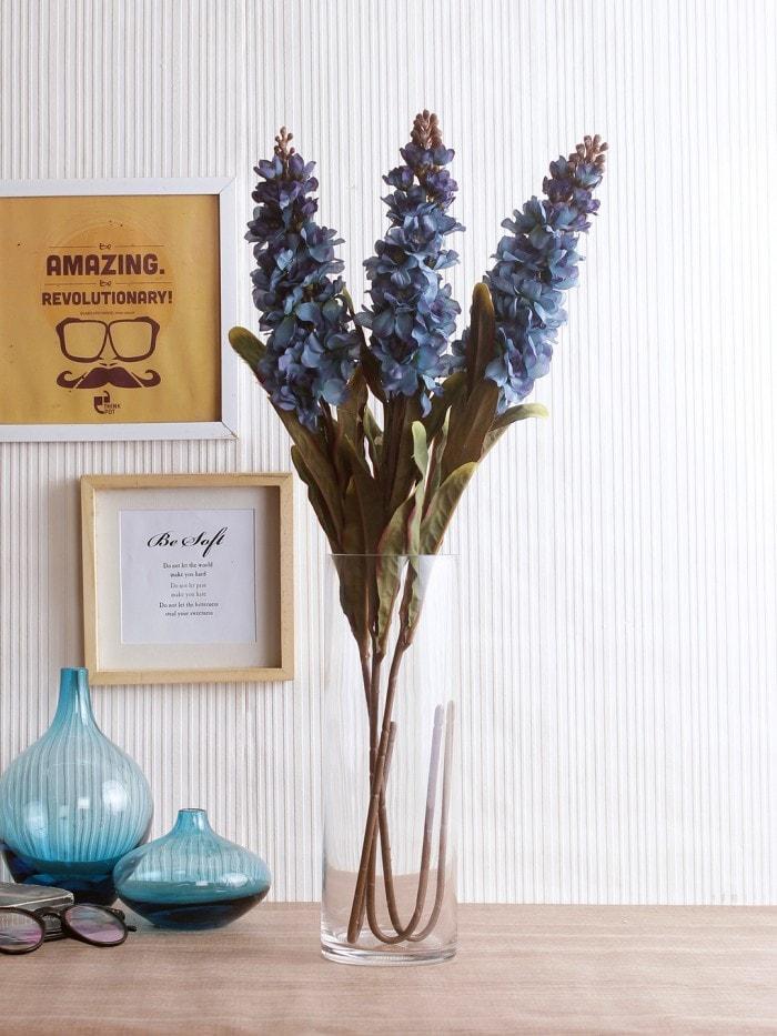 ARTIFICIAL STALK FLOWER STICKS FOR HOME DECOR (75 CM TALL, BLUE, SET OF 3) MSF78