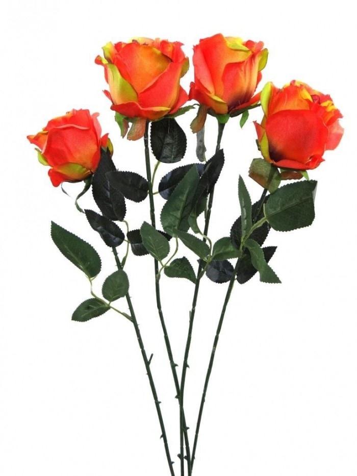 ARTIFICIAL SYNTHETIC SINGLE OPEN ROSE (45 CM, SET OF 4, ORANGE) MSF13