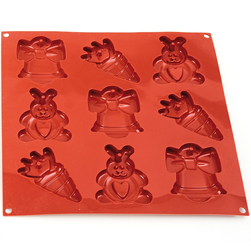 Christmas Easter Holiday Shaped Cookies Red Baking Silicone Mould - Divena In