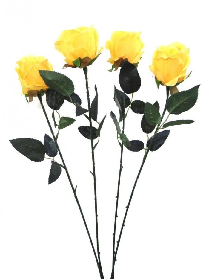 ARTIFICIAL SYNTHETIC SINGLE OPEN ROSE (45 CM, SET OF 4, YELLOW) MSF16