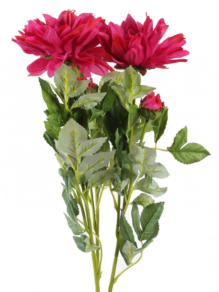 DECORATIVE ARTIFICIAL DEHELIA FLOWER WITH BUD STICKS (3 HEAD, 95 CM TALL, DARK/PINK) MSF34