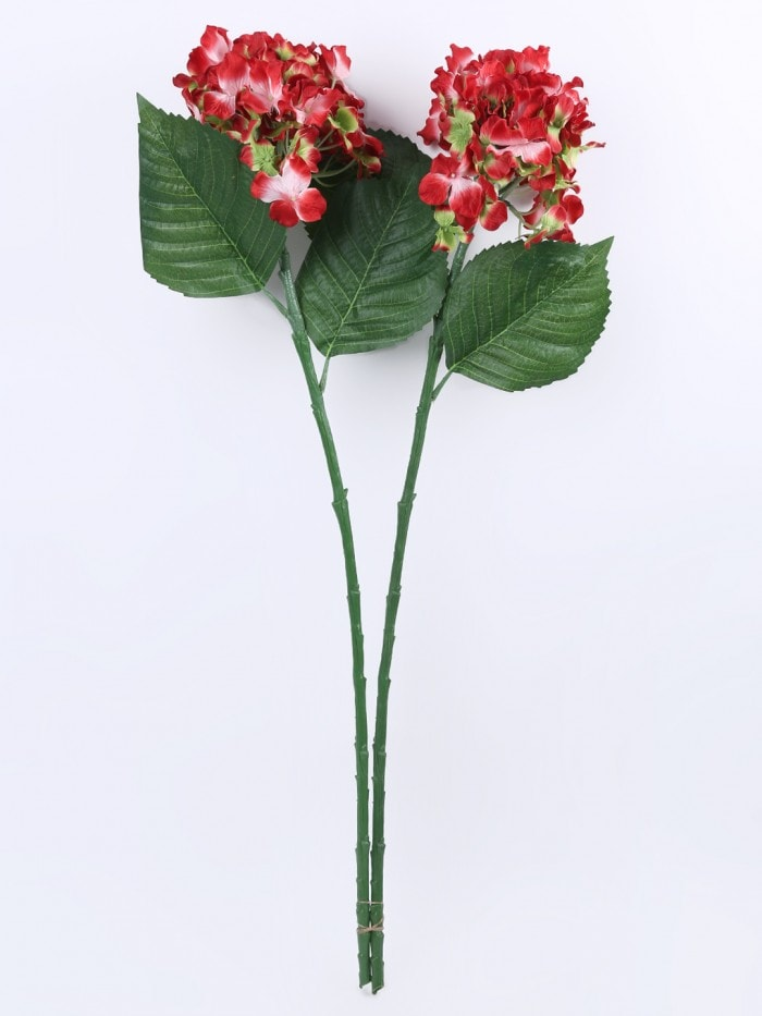 POLYESTER FABRIC AND PLASTIC ARTIFICIAL HYDRANGEA FLOWER STICKS (10 CM X 10 CM X 75 CM, RED, SET OF 2) MSF76