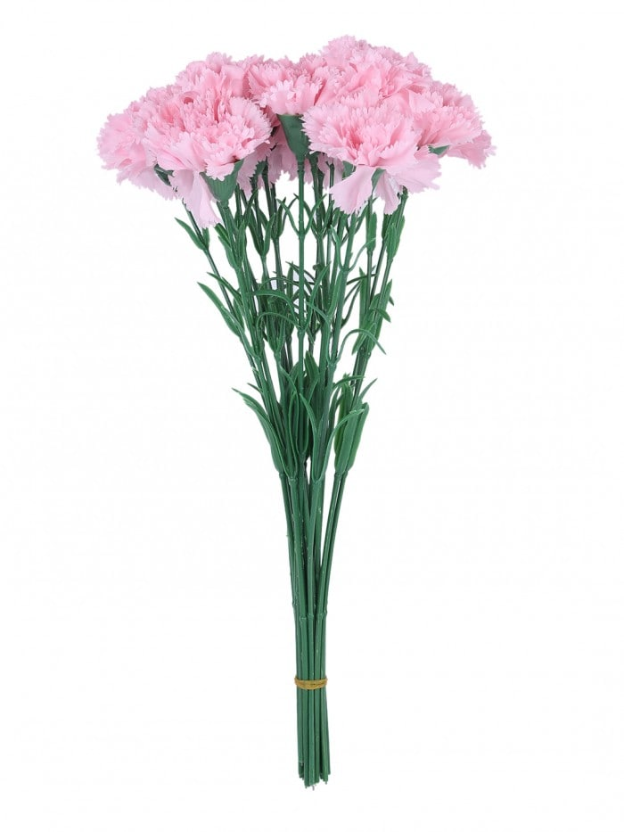 ARTIFICIAL SYNTHETIC SINGLE CARNATION FLOWER STICK (45 CM TALL, SET OF 15, LIGHT/PINK) MSF6