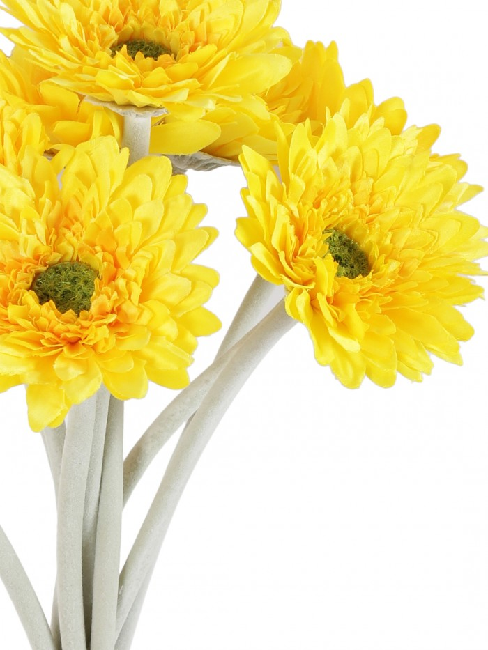 ARTIFICIAL MINI SPIDER GARBARI FLOWERS STEMS (32 CM TALL, SET OF 10, YELLOW) MSF66