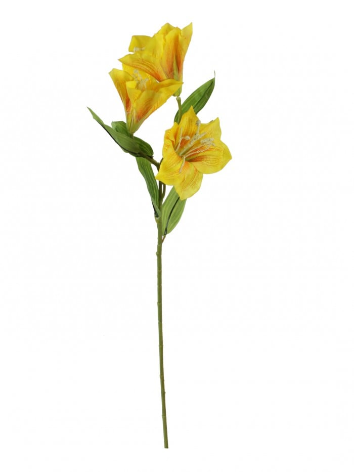 ARTIFICIAL HABISICUS FLOWER STICKS (95 CM TALL, 3 HEAD, YELLOW, SET OF 3) MSF67