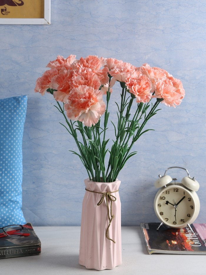 ARTIFICIAL SYNTHETIC SINGLE CARNATION FLOWER STICK (45 CM TALL, SET OF 15, PEACH) MSF1