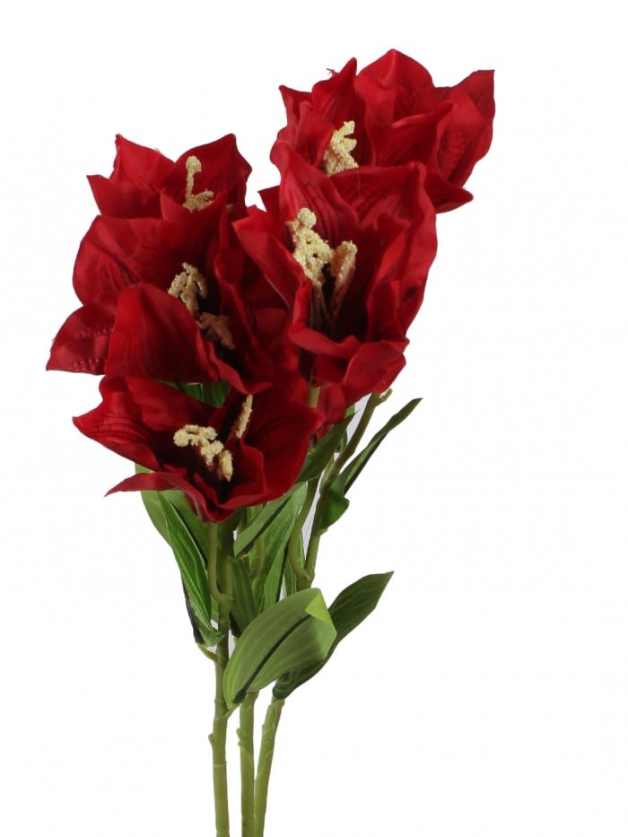 ARTIFICIAL HABISICUS FLOWER STICKS (95 CM TALL, 3 HEAD, RED, SET OF 3) MSF69