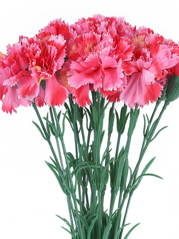 ARTIFICIAL SYNTHETIC SINGLE CARNATION FLOWER STICK (45 CM TALL, SET OF 15, DARK/PINK) MSF5