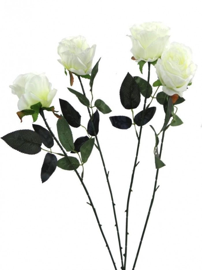 ARTIFICIAL SYNTHETIC SINGLE OPEN ROSE (45 CM, SET OF 4, WHITE) MSF11