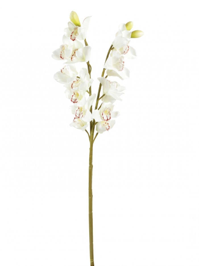 LOVELY ARTIFICIAL CYMBIDIUM ORCHID FLOWER STEMS (95 CM TALL, SET OF 2, WHITE) MSF57