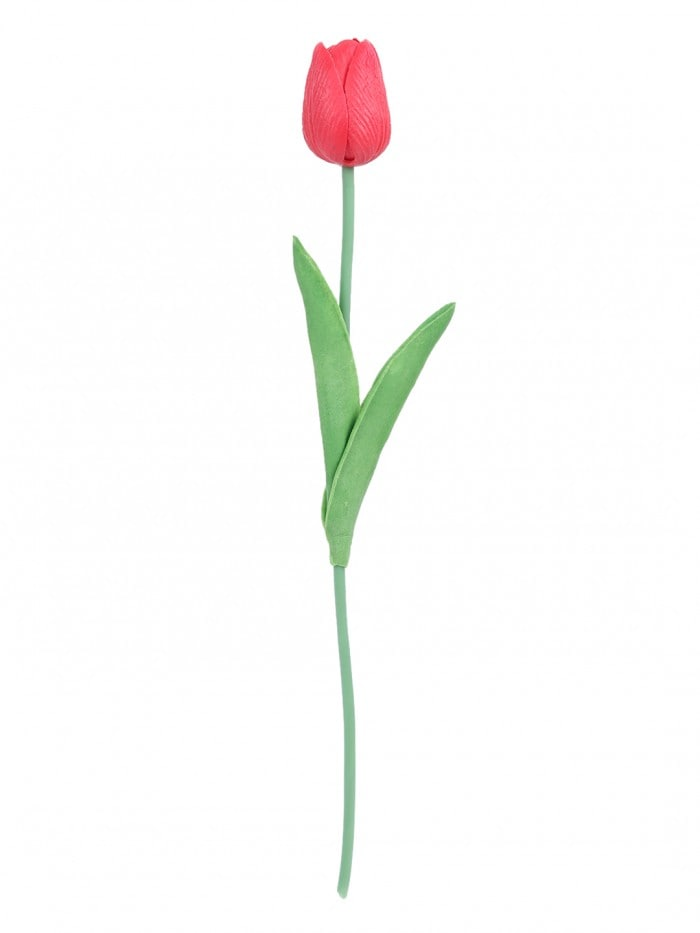ARTIFICIAL DECORATIVE REAL TOUCH MINI TULIP FLOWER STICKS (33 CM, RED, SET OF 12) MSF7R