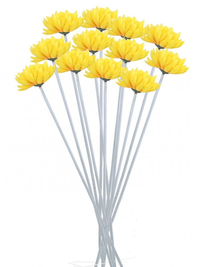 SYNTHETIC CLOTH ARTIFICIAL CHRYSANTHEMUM STEM (40 CM, YELLOW, SET OF 8) MSF20