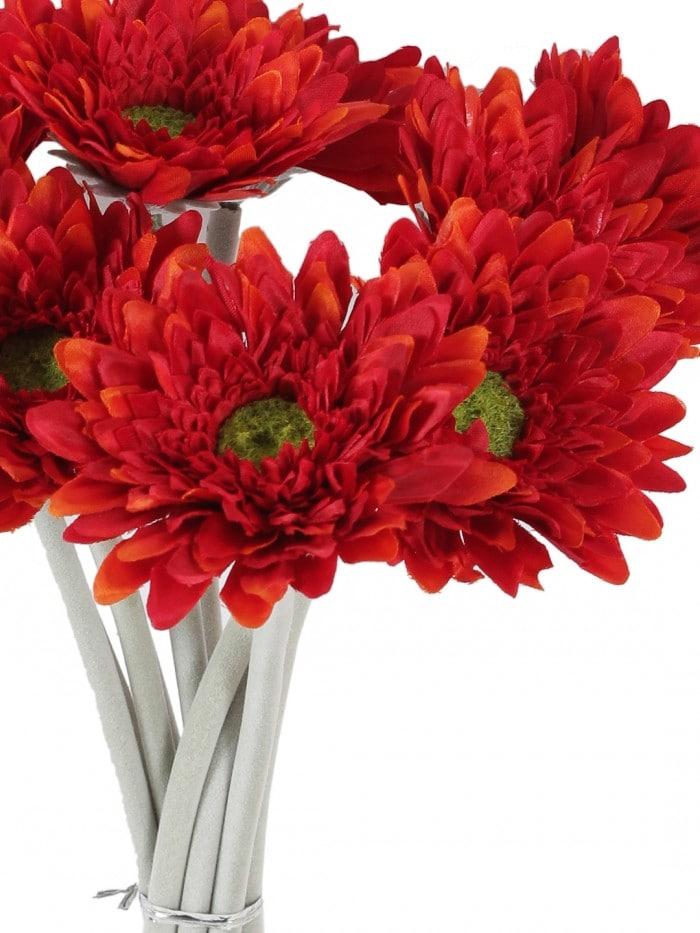 ARTIFICIAL MINI SPIDER GARBARI FLOWERS STEMS (32 CM TALL, SET OF 10, ORANGE) MSF65