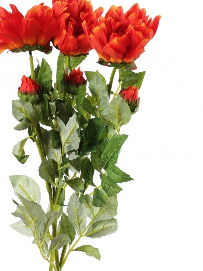 DECORATIVE ARTIFICIAL DEHELIA FLOWER WITH BUD STICKS (3 HEAD, 95 CM TALL, ORANGE) MSF36
