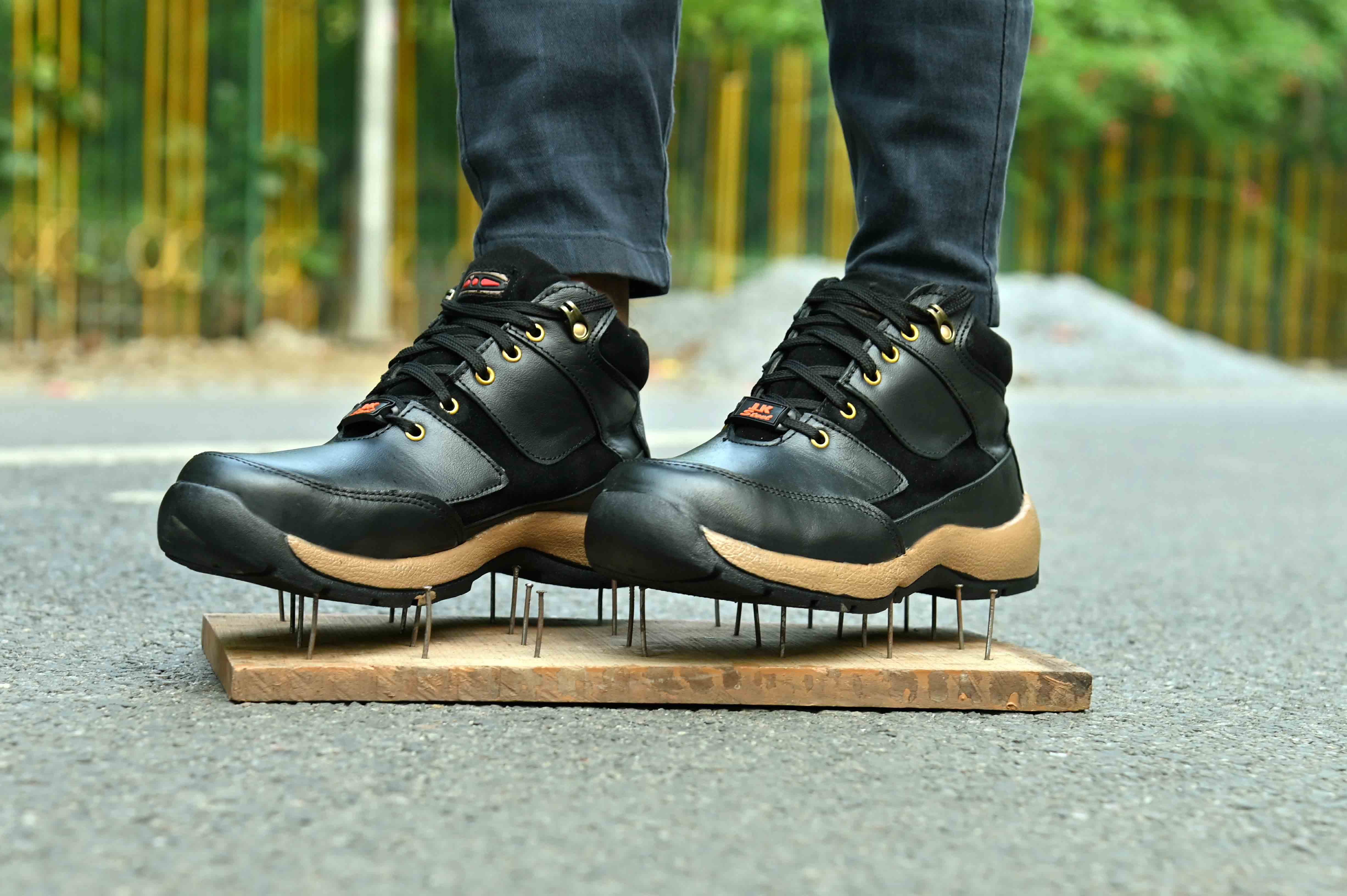 JK STEEL Original Safety Shoes Presents Genuine Leather Stylish Black Safety JKPSF144BLK (Black, 6-10, 8 PAIR)