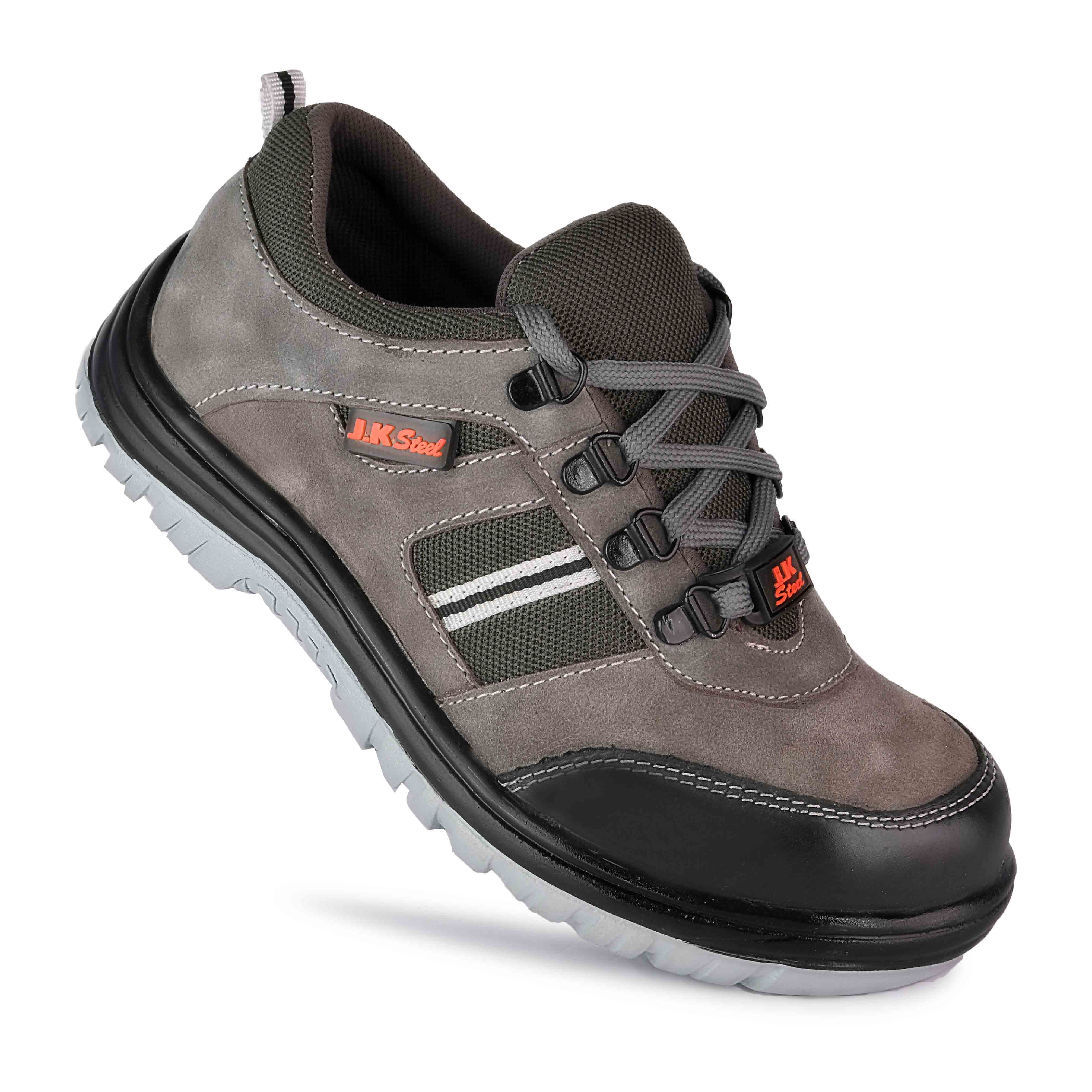 JK STEEL Original Safety Shoes Presents Genuine Leather Stylish Grey Safety JKPSF145GRY (Grey, 6-10, 8 PAIR)