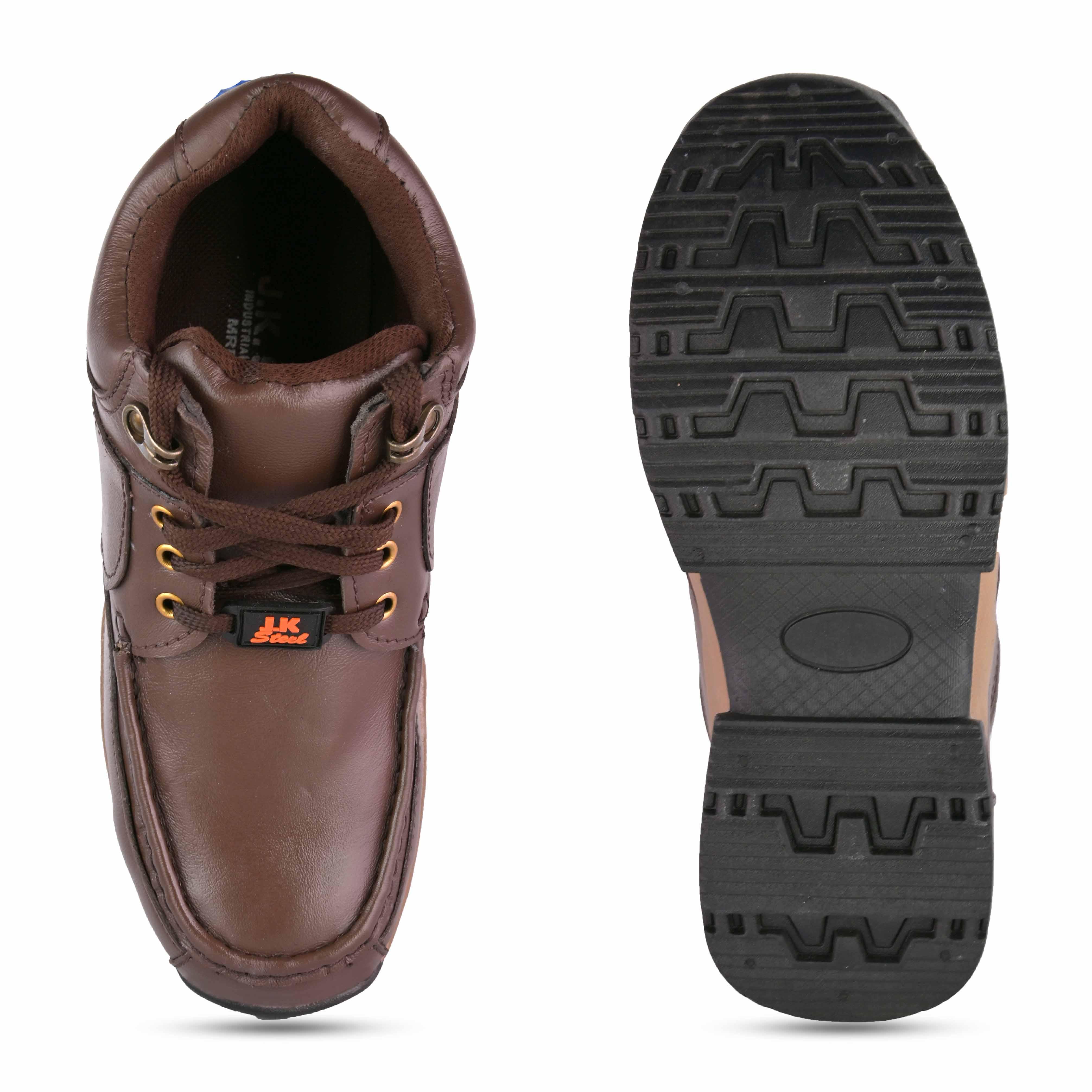 JK STEEL Original Safety Shoes Presents Genuine Leather Stylish Brown Safety JKPSF143BRN (Brown, 6-10, 8 PAIR)