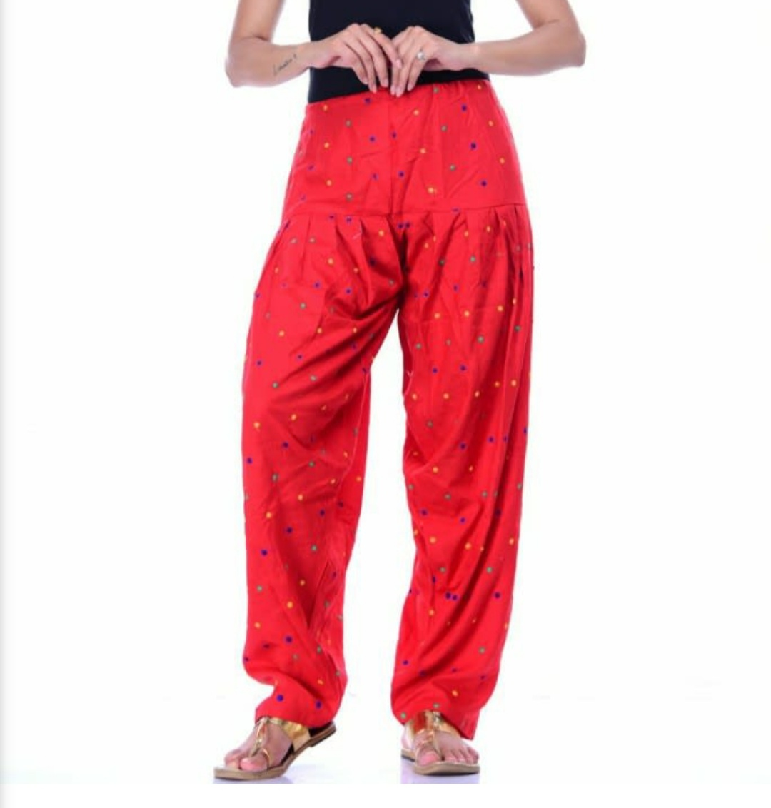 Samridhi Collections Rayon Patiala For Girls & Women's (Red)