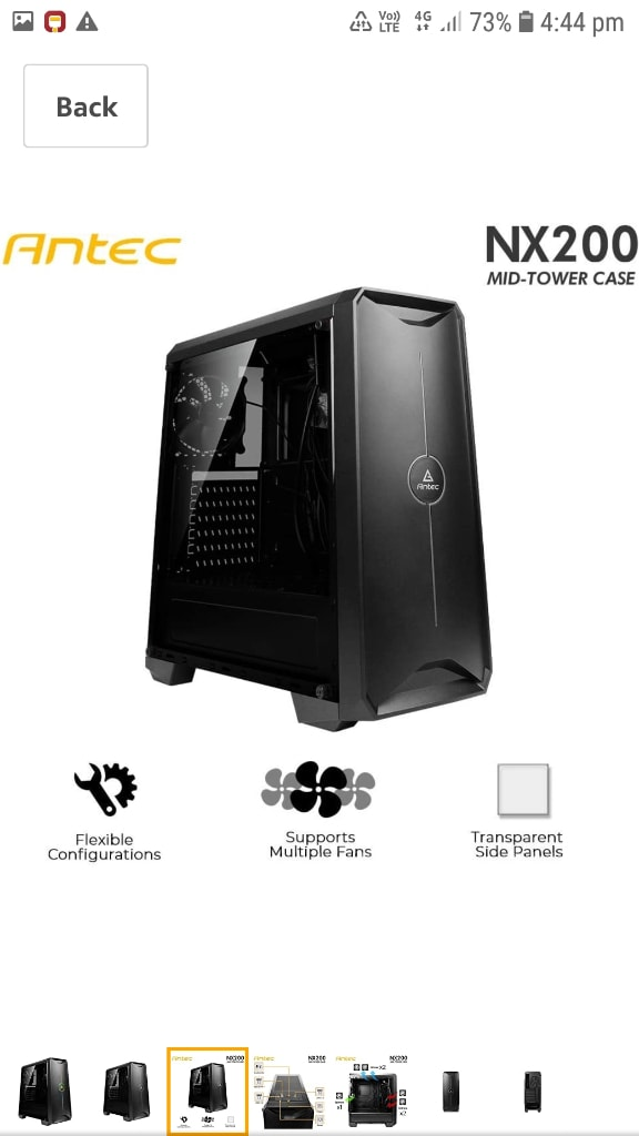 Antec NX200 Mid Tower Gaming Cabinet Support ATX, Micro-ATX, Mini-ITX With RGB Amazing Lighting, 1 X 120 Mm Rear Fan Preinstalled (NX200)