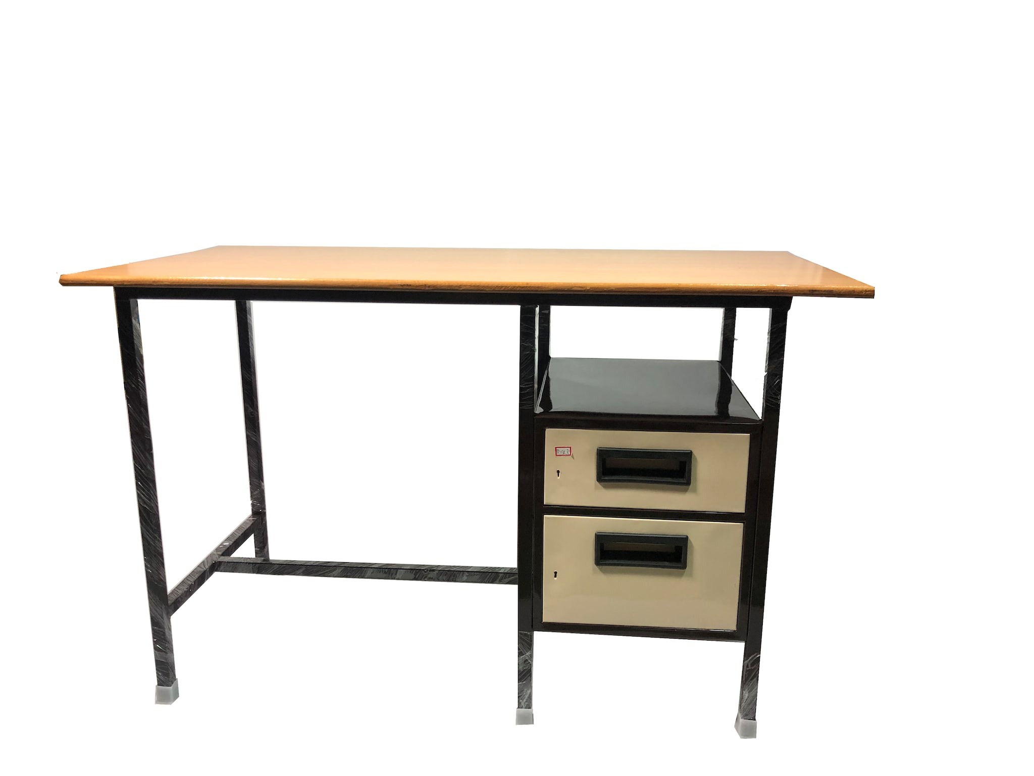 Metal Office Table 24 X 36 Inch (Brown & cream)