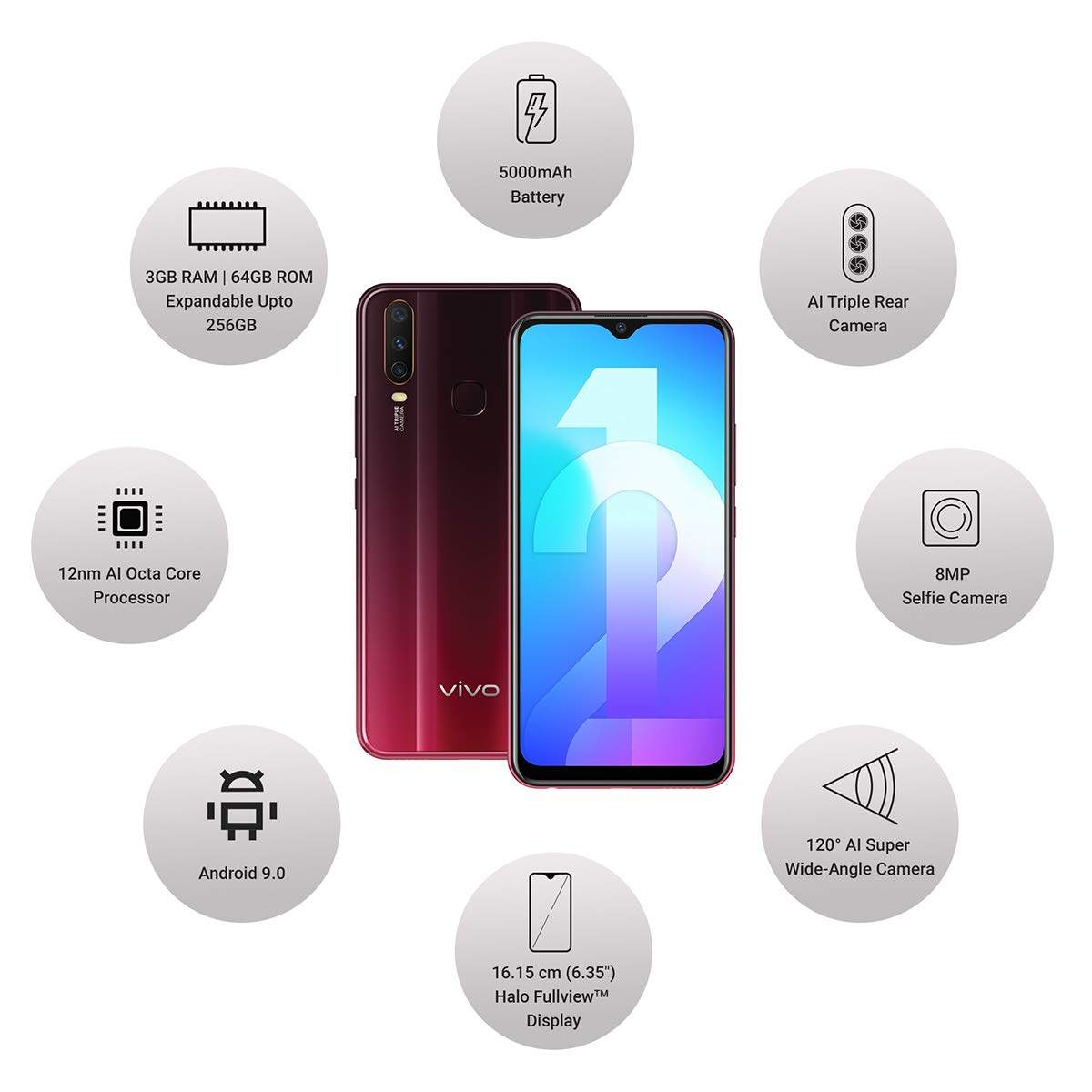 Vivo Y12 RAM 4 GB, 32 GB (Burgundy Red)