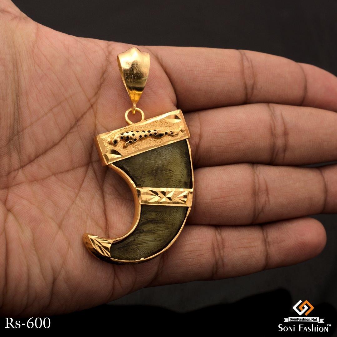 Hand Made Gold Plated Jagur Design Lion Nail For Men