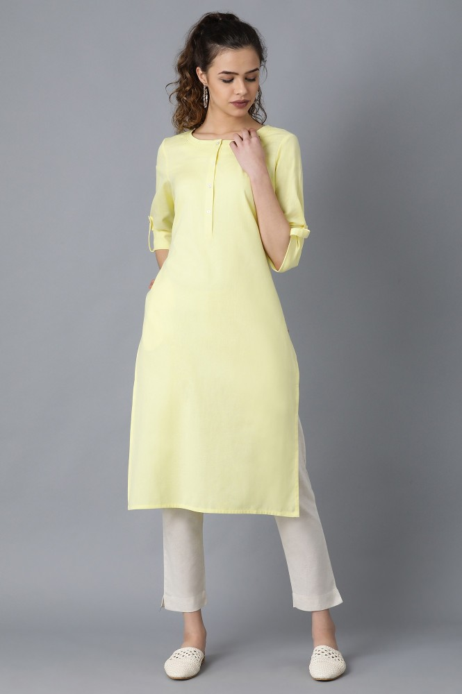 Yellow Round Neck Solid Kurta (18,Yellow)