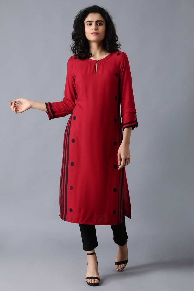 Red Round Neck Printed Kurta (14,Red)