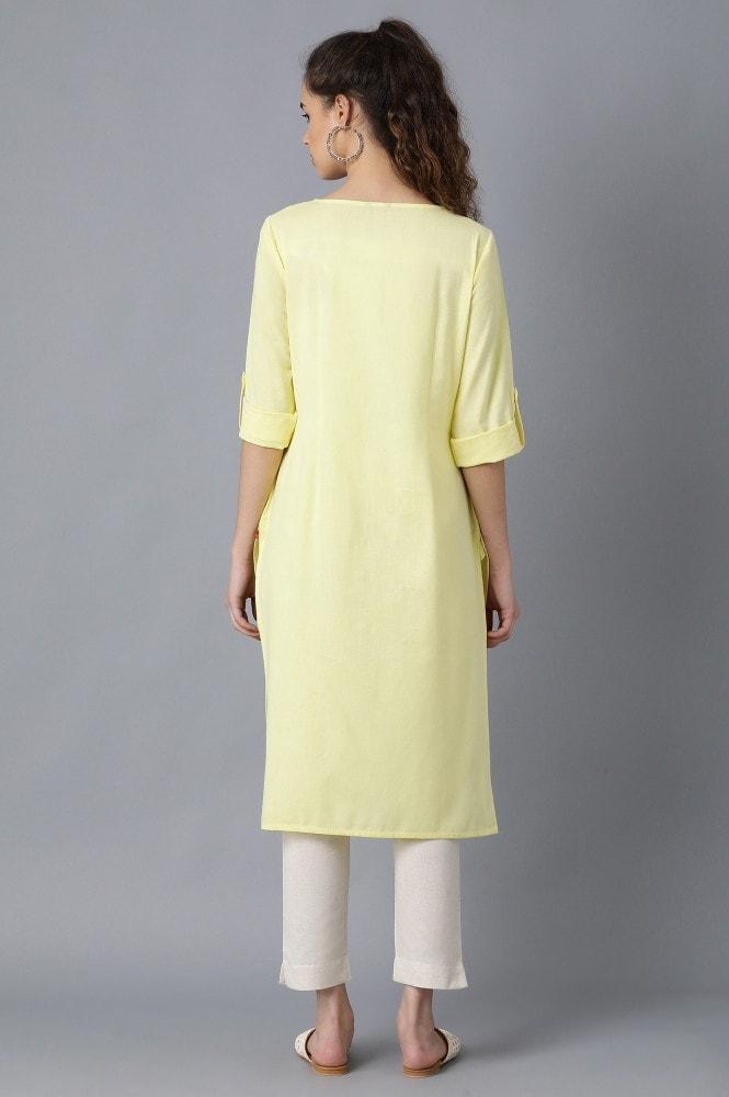 Yellow Round Neck Solid Kurta (16,Yellow)