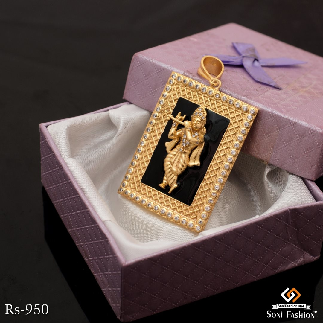 Gold Plated Very Beautyful Shree Krishna Pendant With Black Background