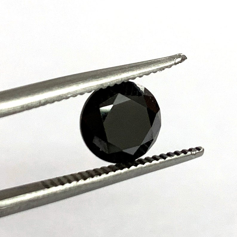 Synthetic Black Moissanite Faceted Loose Gemstone