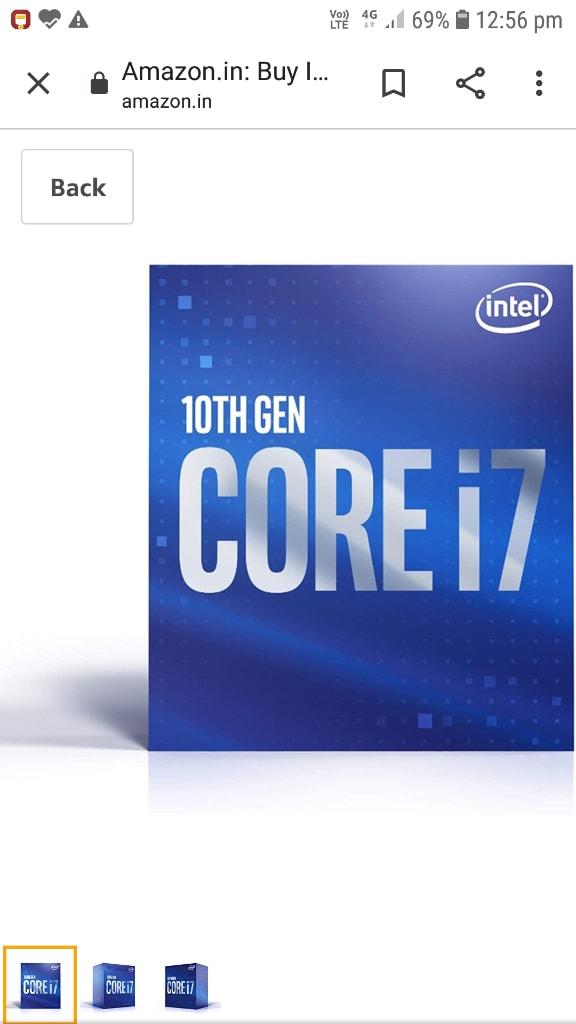 Intel Core I7-10700 Desktop Processor 8 Cores Up To 4.8 GHz LGA 1200 (Intel 400 Series Chipset) 65W