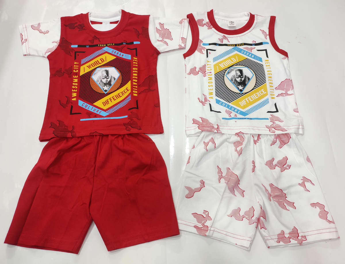 Little Hub Boys Cotton Printed Top & Bottom/2 In 1 Set/For Your 3-12 Months Super Hero/Pack Of 3 Set In 3 Different Colours (XL(PER SET-185))