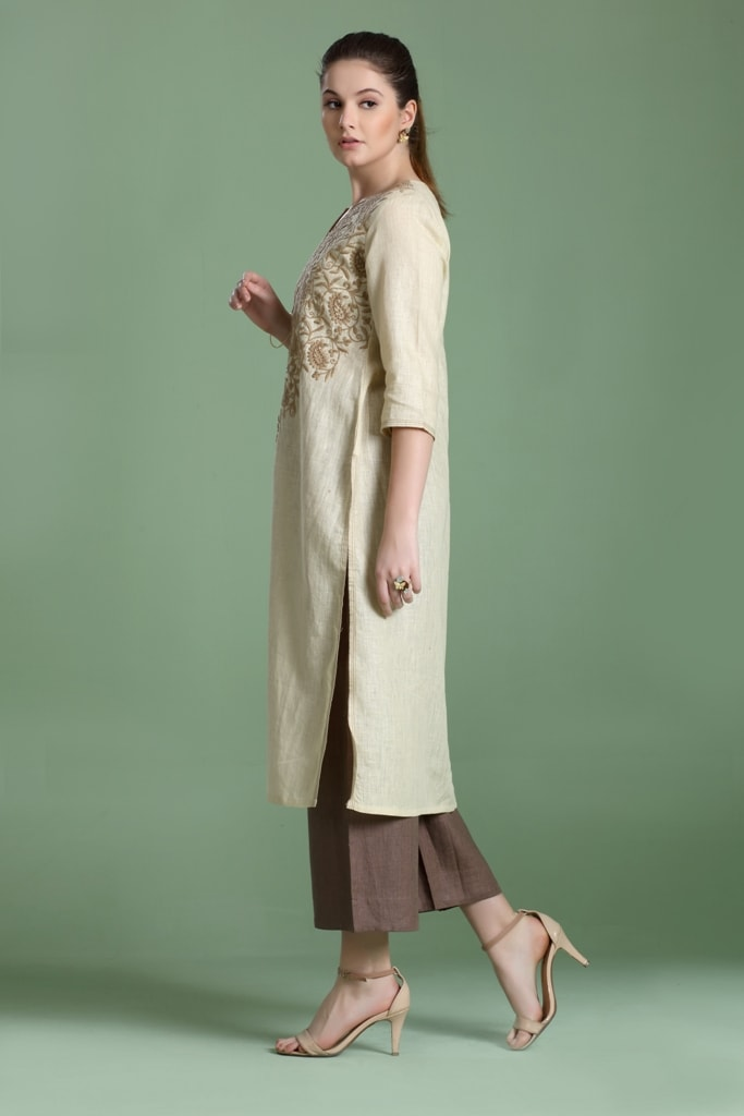 180919 Cottage Cream Embroidered Linen Tunic (XS,Cream)