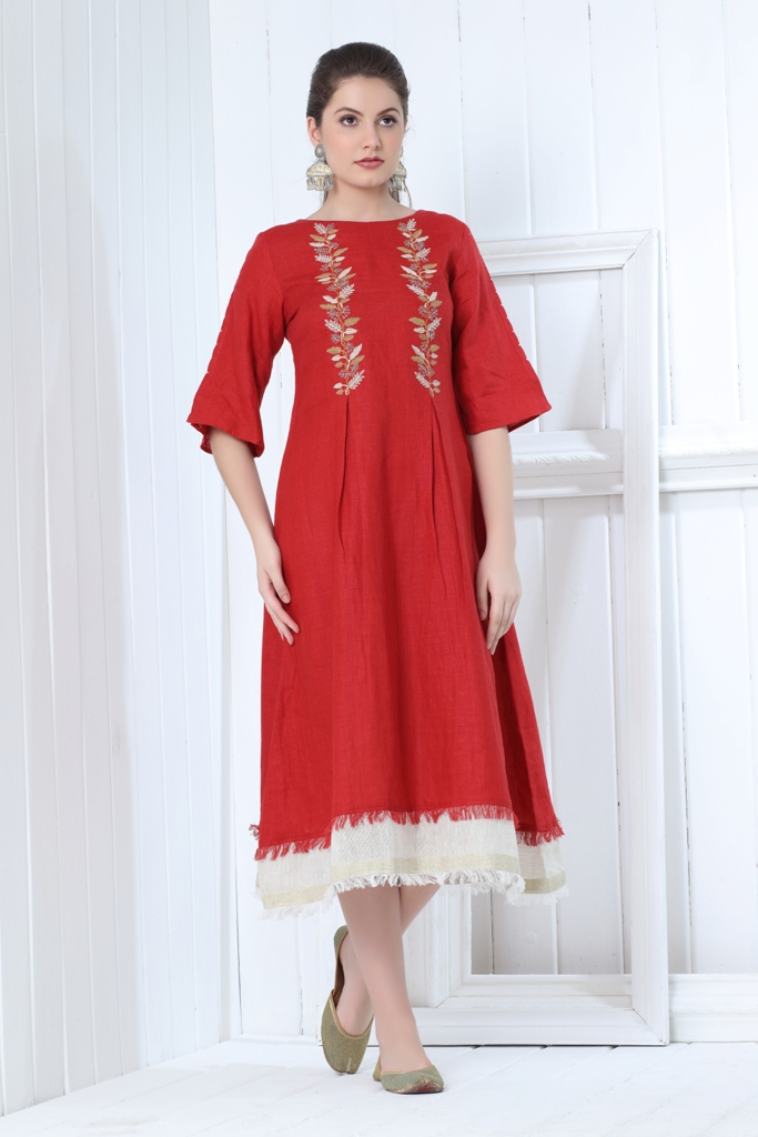 180842 Candy Apple Crush Linen Dress With Embroidery (L,Red)