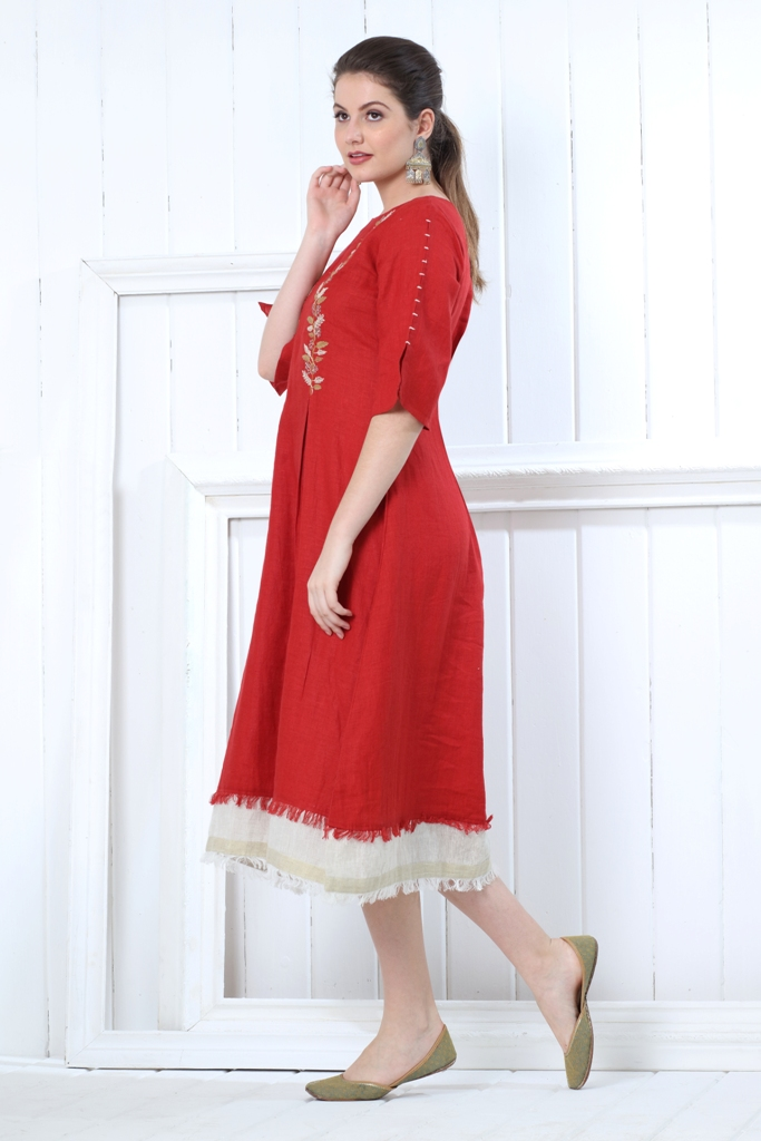 180842 Candy Apple Crush Linen Dress With Embroidery (XS,Red)