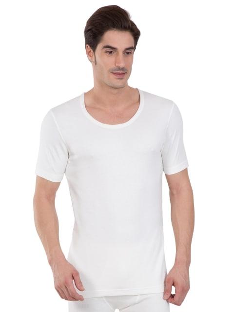 Jockey Men's Off White Half Sleeve Thermal Vest (S,Off White)