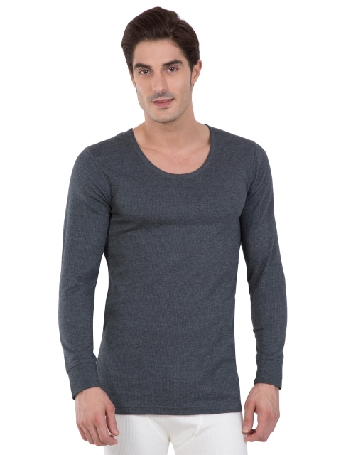 Jockey Men's Off White Full Sleeve Thermal Vest (S,Charcoal Melange)