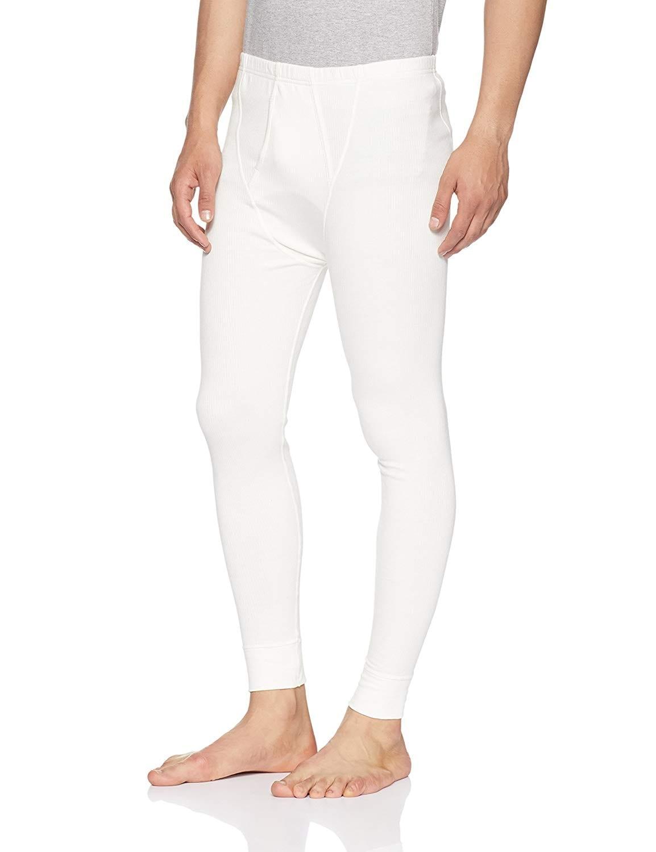 Jockey Men's Charcoal Melange Thermal Long Pant (S,Off White)