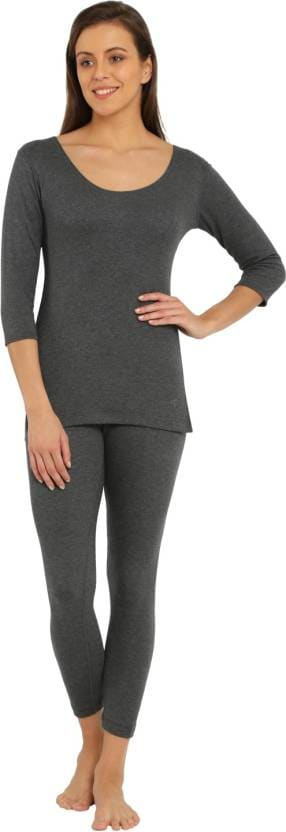 Jockey Women's Charcoal Melange 3/4th Sleeve Thermal Top (S,Charcoal Melange)